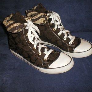COACH Dark Brown Bonnie High Top Sneaakers sz 8B